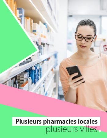 Photo of female Caucasian young consumer checking information on mobile phone in pharmacy. Medicine, pharmaceutics, health care and people concept. Woman using black smartphone while shopping in the pharmacy store during the day.